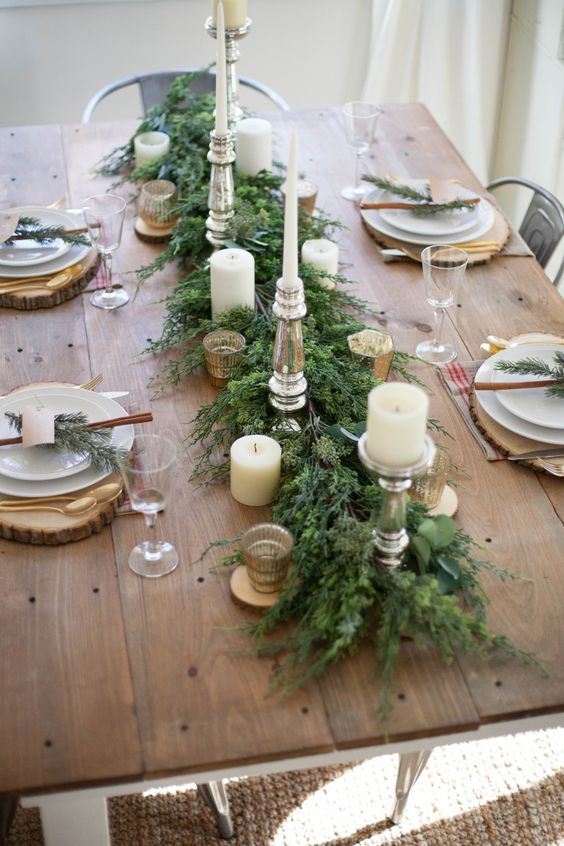 50 christmas table decoration ideas settings and for Decoration table pour invites